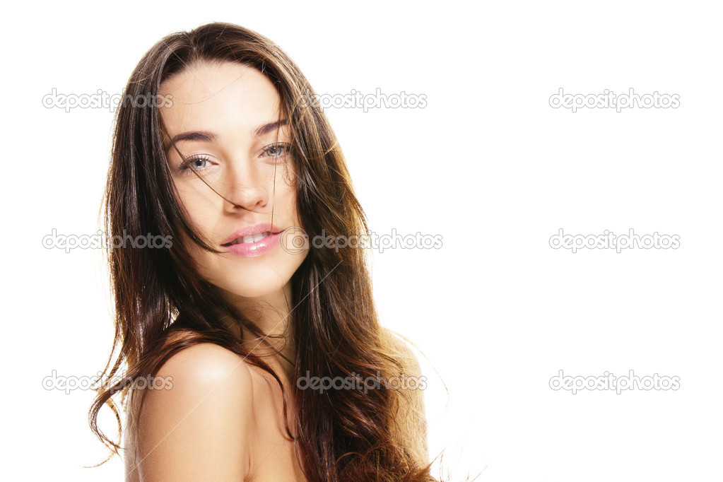 Beautiful woman with unkempt hair on white background — Stock Photo #10776362