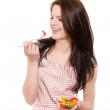 Laughing woman eating salad — Stock Photo #11129936