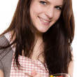 Happy young woman with a salad — Stock Photo #11129963