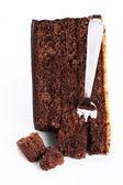 Vidlice v čokoládový dort — Stock fotografie
