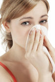 Young woman suffering on hay fever — Foto Stock