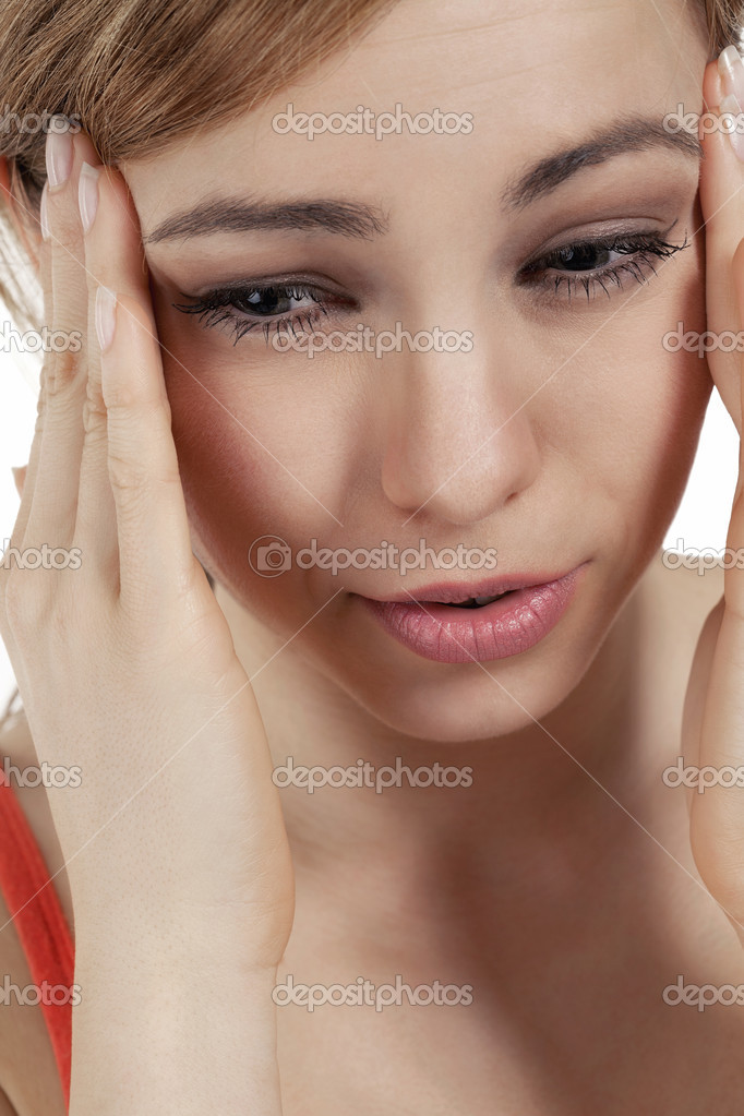 Young blonde woman suffering headache  Stock Photo #12092200