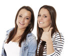 Two teenager showing thumbs up — Stock Photo
