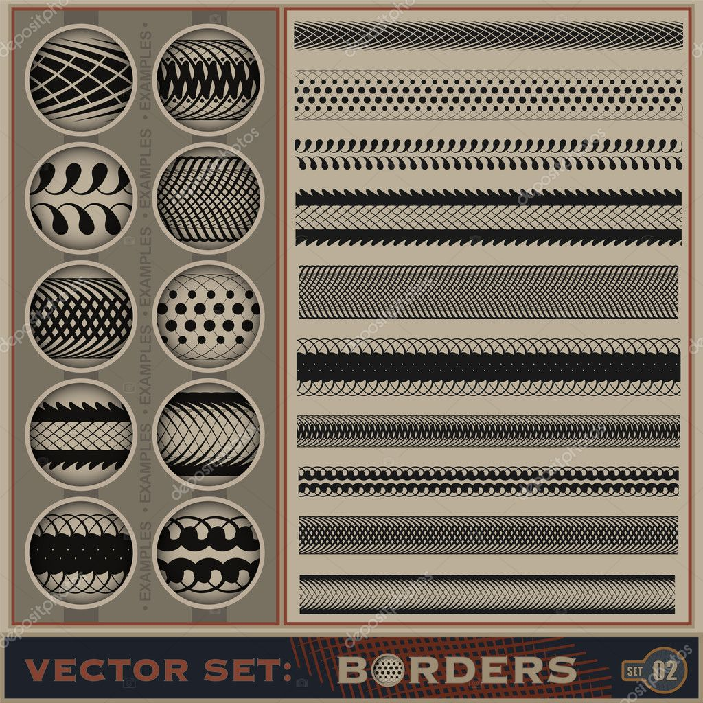 Seamless borders set. | Vector illustration. — Stock Photo #11991310