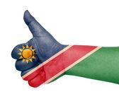 Namibia flag on thumb up gesture like icon — Stock Photo