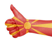 Macedonia flag on thumb up gesture like icon — Stock Photo