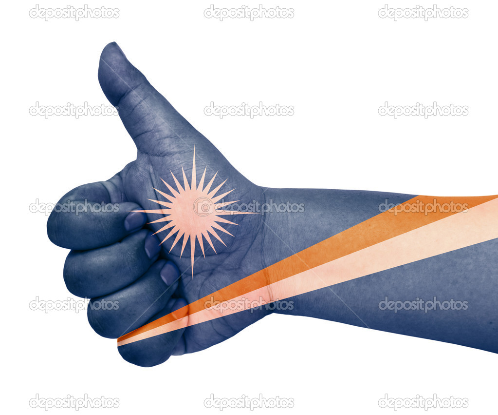 Marshall Islands flag on thumb up gesture  like icon on white background  Stock Photo #10768165
