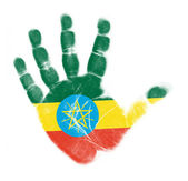 Palma de bandeira de Etiópia imprimir isolado no fundo branco — Fotografia Stock