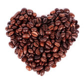 Heart shape coffee bean isolated on white background — Stock Photo