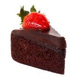 Dark chocolate strawberry cake isolated — Stock Photo