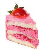 Pink strawberry cake isolated — Stock Photo