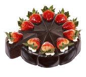 分離されたダーク チョコレート ストロベリー ケーキ — ストック写真