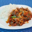 Stock Photo: Chinesse lunch with fried beef bamboo shoots and rice