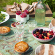 Picnic table setting — Stock Photo