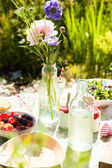 Picnic table outdoors — Stock Photo