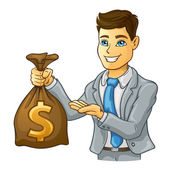 Business man holding money bag — Stock Vector