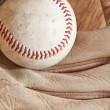 Ball and glove — Stock Photo
