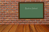 Wooden floor and brickwall room and black board back to school — Stock Photo