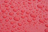Vatten droplet på röd yta — Stockfoto