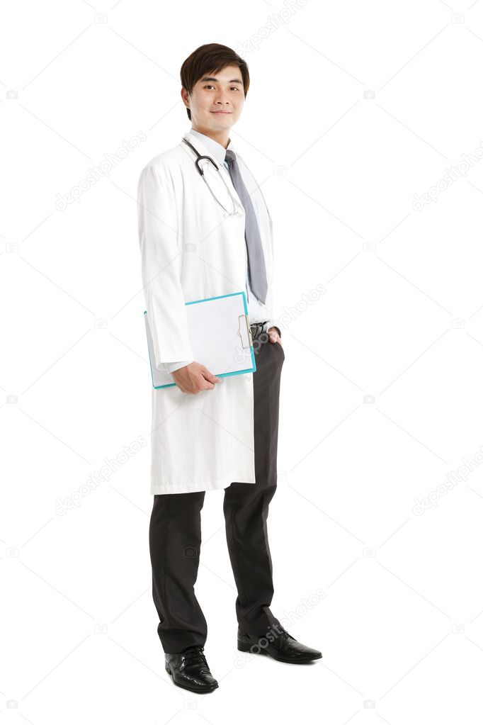 Full length of asian medical doctor with clipboard  Stock Photo #11316943