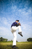 Baseball pitcher ready for throwing the ball — Stock Photo