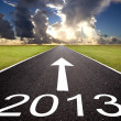 Road to the 2013 new year and  sunrise background — Stock Photo