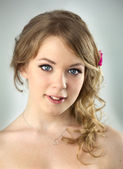 Studio Portrait of Young Teenager Girl / with hairstyle and ligh — Stock Photo