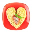Stock Photo: I love Pasta / Spaghetti isolated on white / Heart Shape