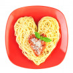 I love Pasta / Spaghetti isolated on white / Heart Shape — Stock Photo