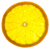 Slice of an orange / isolated on white background / back lit — Stock Photo