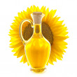 Bottle of Sunflower Oil with Sunflower / View Through — Stock Photo