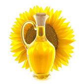 Láhev slunečnicového oleje s slunečnice / zobrazit prostřednictvím — Stock fotografie