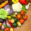 Assortment of fresh Organic Vegetables / on the Wooden Desk — Stock Photo #11782781