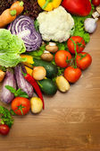 Fresh Organic Vegetables / on the Wooden Desk — Stockfoto