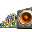 Stock Photo: 3d pile multiple color cubic sound system woofer on white