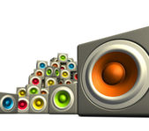 3d pile multiple color cubic sound system woofer on white — Stock Photo