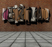 3d render of pavement and floating graffiti on grunge brick wall — Stock Photo