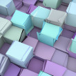 Stock Photo: Shattered blue and purple 3d cubes