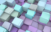 Shattered blue and purple 3d cubes — Stock Photo