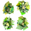 Stock Photo: 3d render growing shape in multiple shades of green