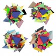 3d abstract fragmented colored spiked shape on white — Stock Photo