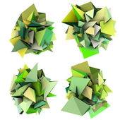 3d render growing shape in multiple shades of green — Stock Photo