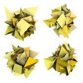 3d astratto forma a spillo giallo su bianco — Foto Stock