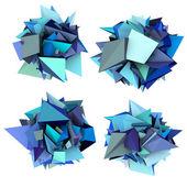 3d abstrata azul forma cravada em branco — Foto Stock