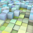 Stock Photo: Abstract 3d cubes backdrop in green and blue