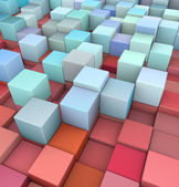 Abstract 3d cubes backdrop in red and blue — Foto Stock