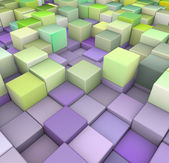 抽象的绿色和紫色的 3d 的多维数据集背景。 — 图库照片