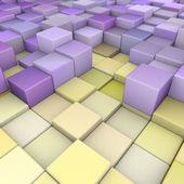 Abstraktní 3d kostky pozadí v žluté fialová — Stock fotografie
