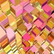 Foto Stock: Abstract fragmented cube pattern pink orange yellow backdrop