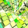 3d abstract fragmented cube pattern green yellow backdrop - Foto de Stock  